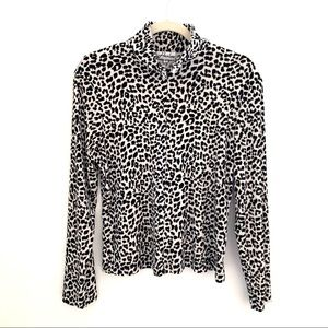 Harlow leopard print 3/4 zipper pullover top